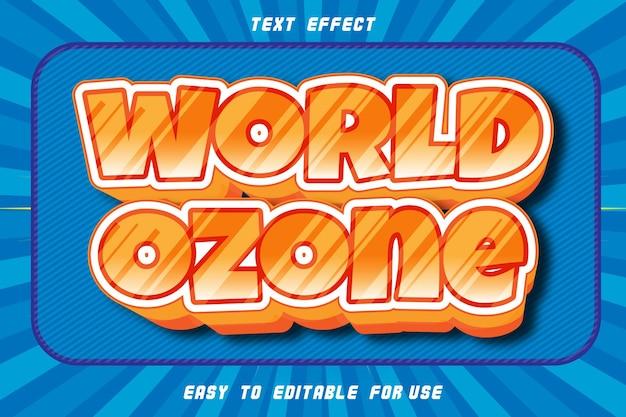 World ozone editable text effect emboss comic style