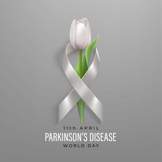 Баннер всемирного дня болезни паркинсона с серой фотореалистичной лентой и белым тюльпаном.