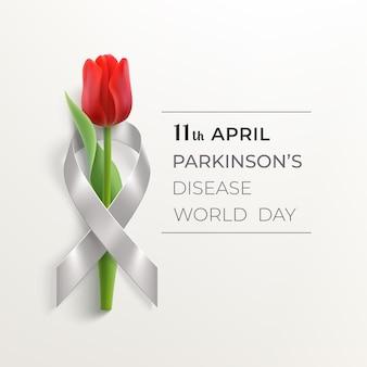 Всемирный день болезни паркинсона с серой лентой и красным тюльпаном