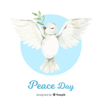 World peace day background with dove in hand drawn style
