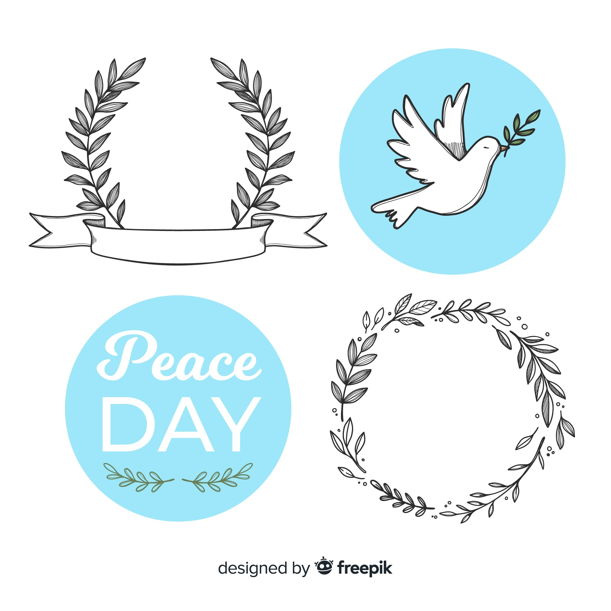 World peace day badge collection