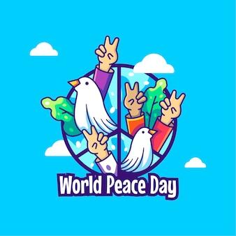 Всемирный день мира мультфильм векторные иллюстрации. концепция значка всемирного дня мира premium векторы