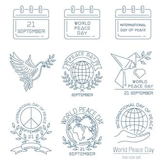 世界平和デーラインセット。国際平和デーのイラスト。