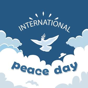 하늘에 세계 평화의 날 포스터 흰 비둘기 새 비행