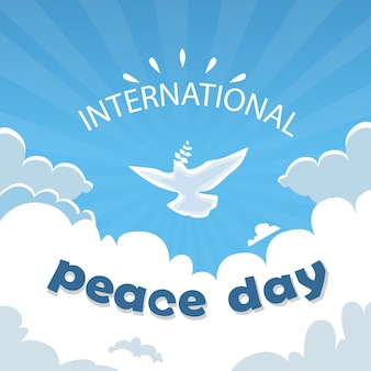 World peace day poster white dove bird fly in sky