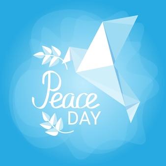 Всемирный день мира плакат белый оригами голубь птица