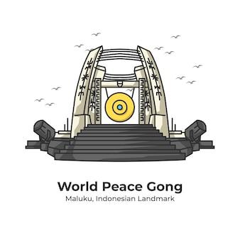 World peace gong indonesian landmark cute line illustration