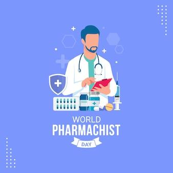 World pharmacist day banner celebration vector illustration