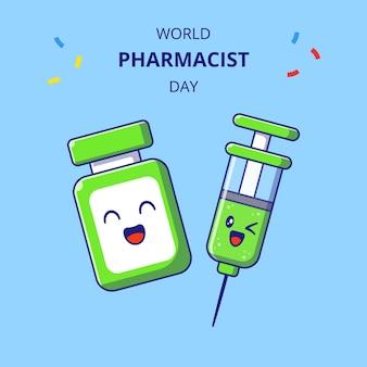 세계 약사의 날 귀여운 백신 약병과 주사기 만화 캐릭터. 마약 마스코트의 집합입니다.