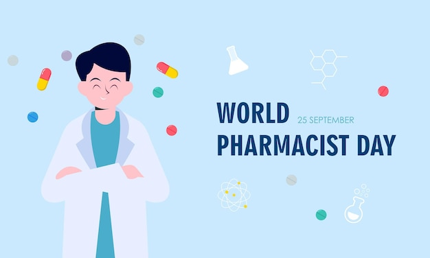 World pharmacist day. doctor and pills logo concept Premium Vector