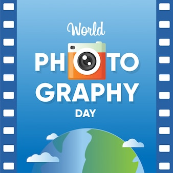 World photography day banner with film roll paper and world globe background