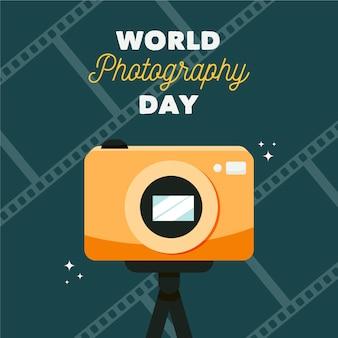 Giornata mondiale della fotografia in design piatto