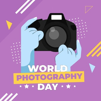 World photography day in flat design