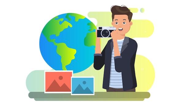 世界の写真の日のイラストの背景