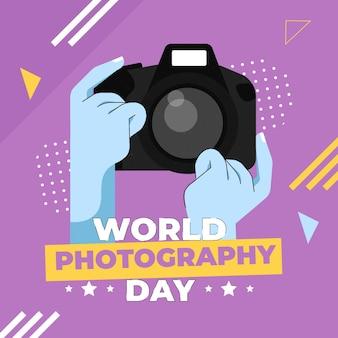 世界写真デーフラットデザイン