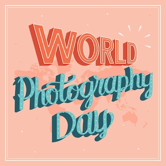 World photography day lettering concept