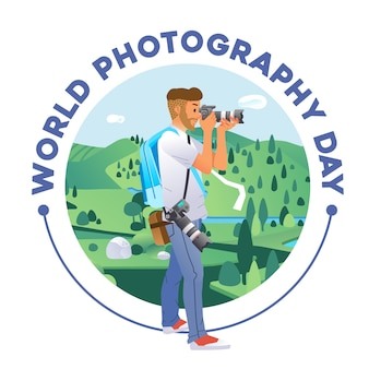 World photography day poster with young man taking a picture of beautiful landscape illustration. used for poster, website image and other