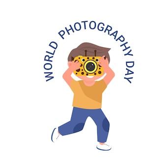 카메라와 함께 세계 사진의 날 벡터 일러스트 레이 션 행복 한 아이
