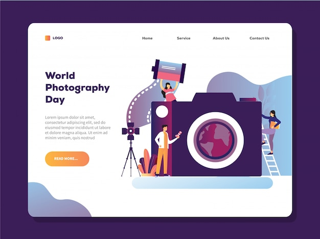 カメラのランディングページテンプレートを保持している男と世界写真日ベクトルイラスト