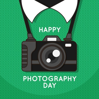 World photography day with camera and greeting