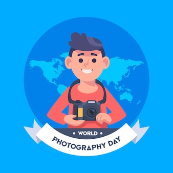 World photography day with male photographer