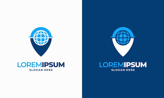 World pin place navigation logo designs concept vector, internet point logo designs concept illustration symbol