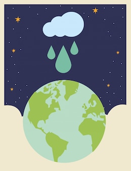 World planet earth with cloud rainy
