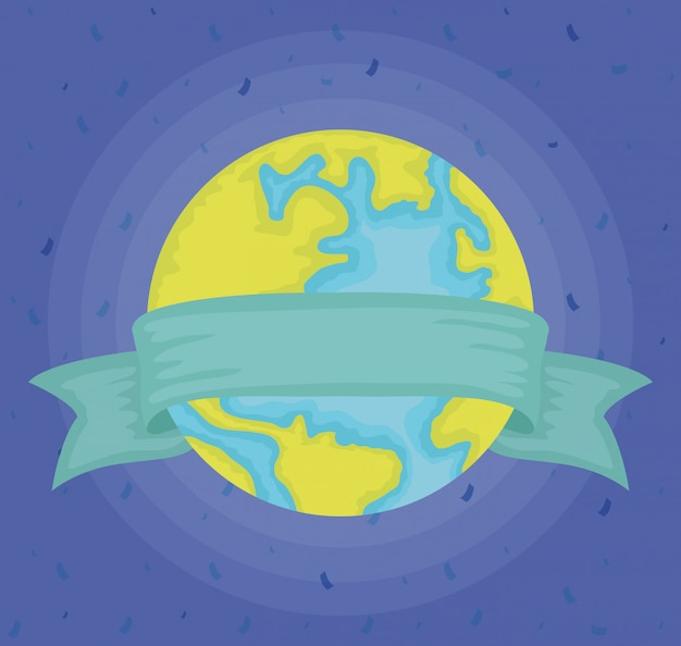 World planet earth with ribbon frame
