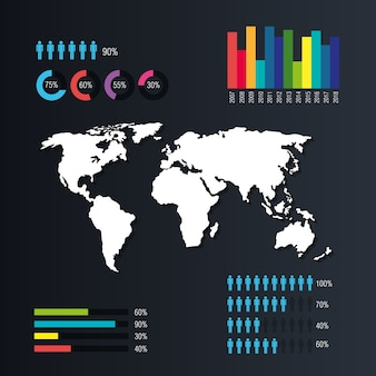 World planet infographic icons