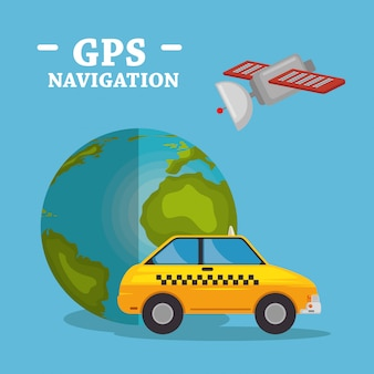 World planet with gps navigation icons