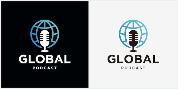 세계 팟캐스트 로고 아이콘 디자인 벡터 로고 템플릿 디자인 세계 채팅 그림