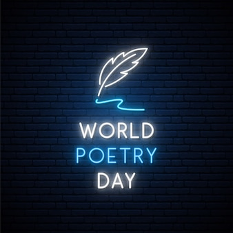 World poetry day neon signboard.