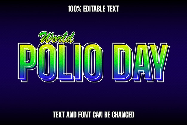World polio day editable text effect modern style