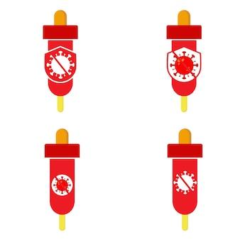 세계 소아마비의 날 아이콘입니다. 바이러스와 방패 아이콘 디자인이 있는 백신