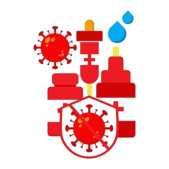 세계 소아마비의 날 그림입니다. 바이러스와 방패 일러스트 디자인이 있는 백신
