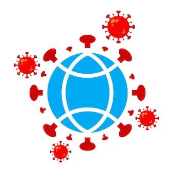 世界のポリオの日のイラスト。地球儀イラストデザインのウイルス