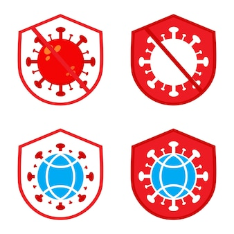 世界のポリオの日のイラスト。シールドと地球儀のイラストデザインとウイルス