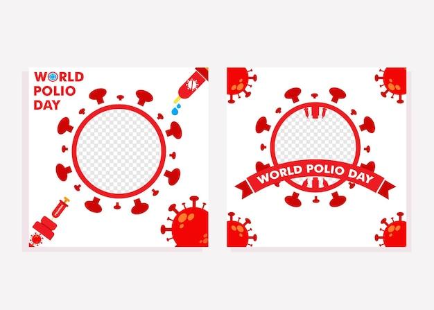 소아마비 퇴치 캠페인 디자인 컨셉을 위한 세계 소아마비의 날 소셜 미디어 포스트 소셜 미디어 포스트
