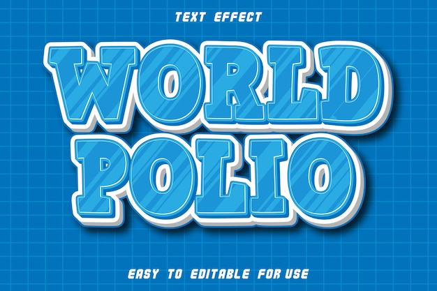 World polio editable text effect emboss modern style