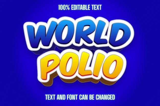 World polio editable text effect modern style