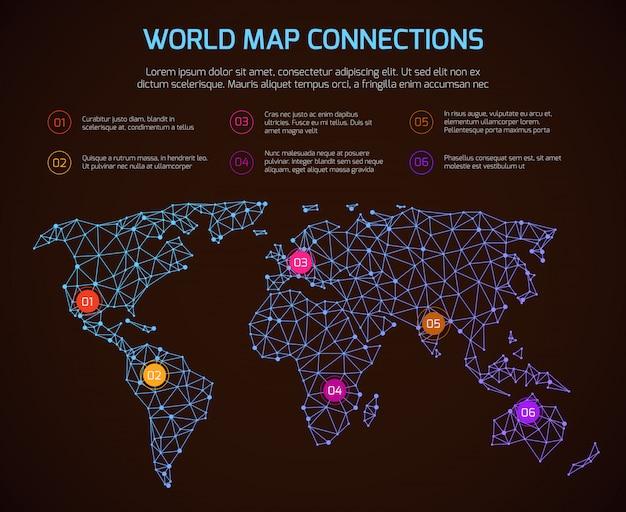 World polygonal map communication infographic template