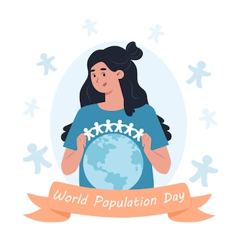 世界人口デー、女性が地球上で紙の男性の花輪を持っています