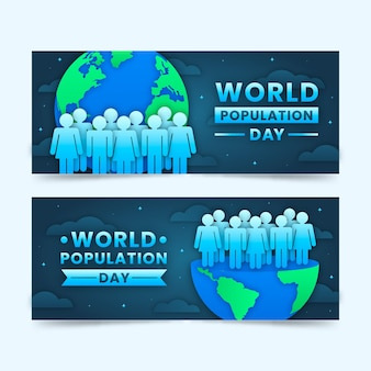 World population day banners set in paper style