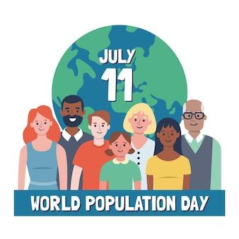 세계 인구의 날 축하 그림