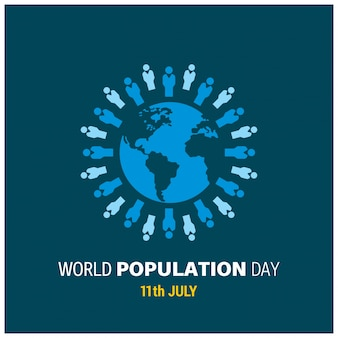 World population day design with people around globe