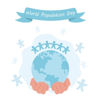 World population day, in flat style