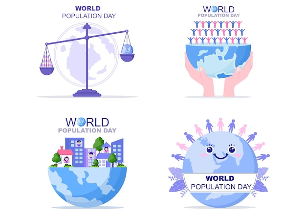 World population day   illustration commemorated every 11th july to raise awareness of global populations problems.