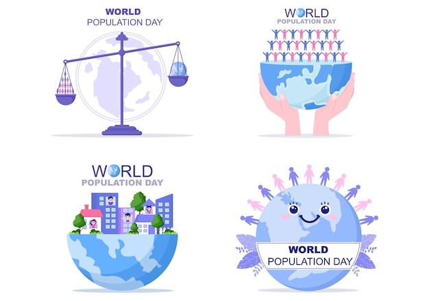 世界人口問題への意識を高めるために7月11日ごとに記念される世界人口デーのイラスト。