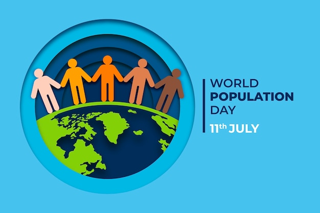 World population day illustration in paper style