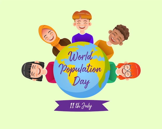 World population day in realistic style